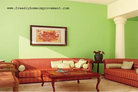 Home Interior Wall Paint Color Scheme with Green Color For the