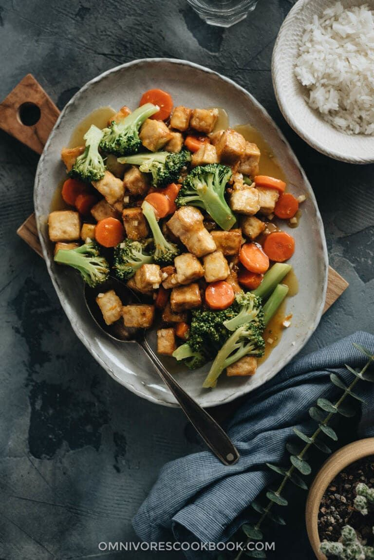 Air Fryer Tofu with Broccoli and Carrot Chinese takeout