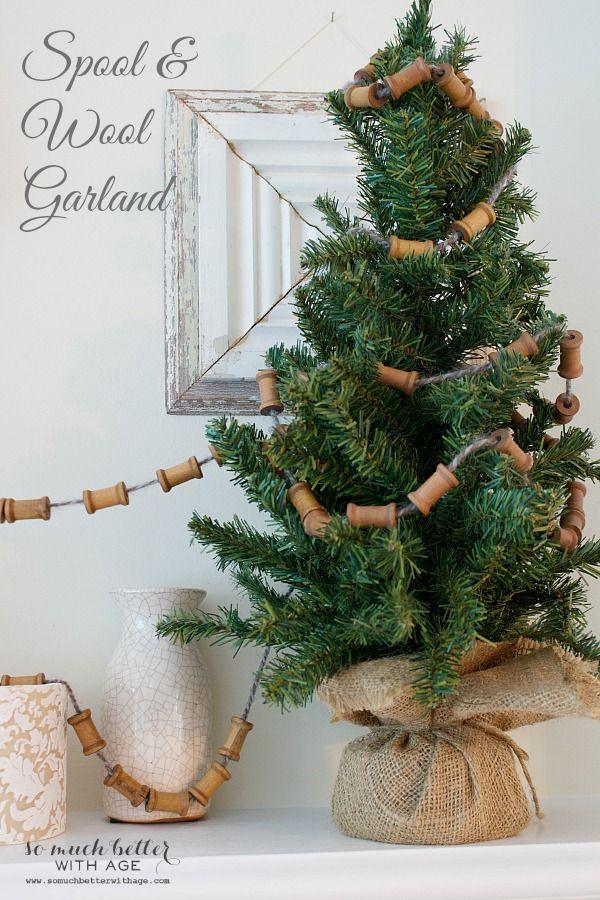 Wooden Spool Christmas Garland Diy Christmas Garland Christmas Ornaments Homemade Christmas Garland