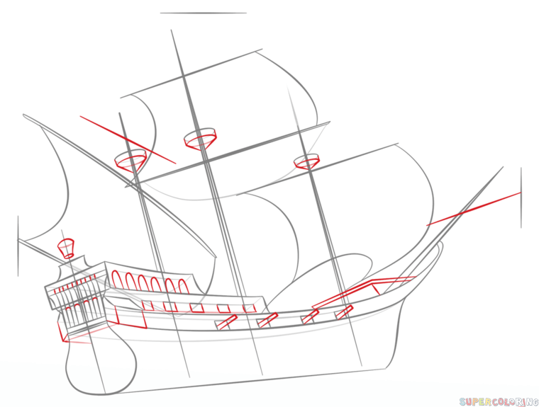 how to draw a pirate ship step by step drawing tutorials for kids and beginners