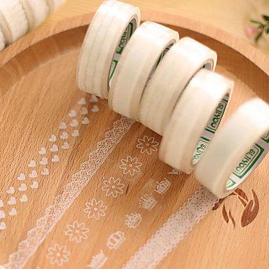 gennemsigtige blonder dekorative scrapbog lim tape (10m tilfældigt mønster 1 stk) – DKK kr. 15