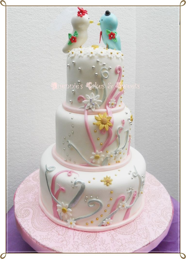 Quennies Cakes - Wedding Cake ,Love Birds theme | Wedding cakes ...