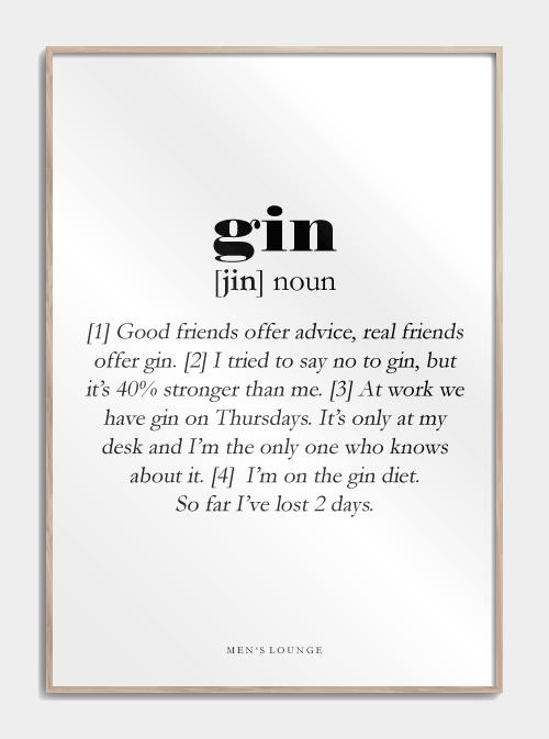 Gin Definition Plakat Plakater Gin Citater