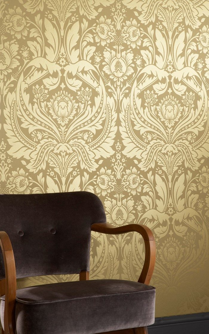 Desire gold damask wallpaper golden wall coverings by graham brown