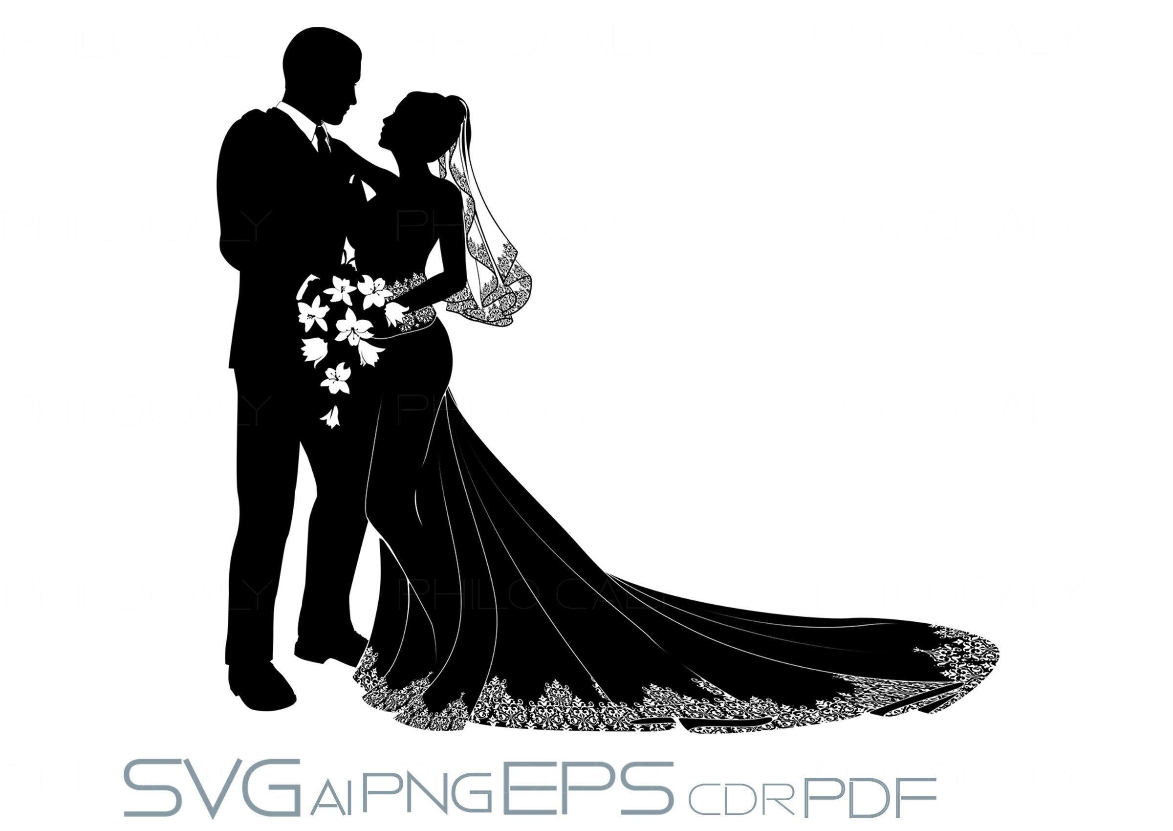 Bride And Groom Svg Wedding Figure Svg Wedding Ornament Svg Etsy In 2021 Wedding Silhouette Bride And Groom Silhouette Bride Silhouette