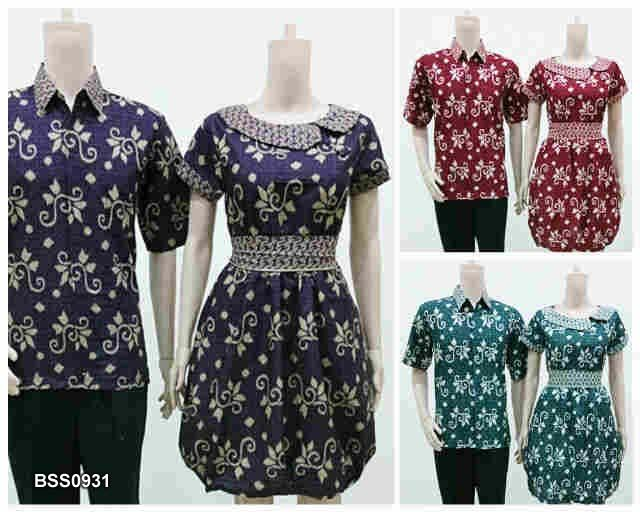 Couple man shirt and dress from Batik Solo Shop Indonesia Cotton