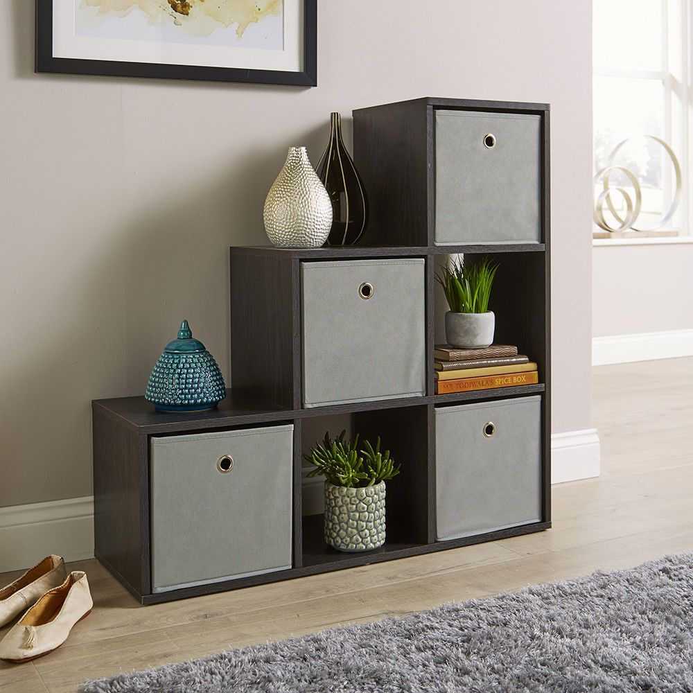 Details About Step Style Storage Cube 6 Shelf Bookcase Wooden Display Staircase Unit Black Living Room Types Staircase Storage Living Room Storage