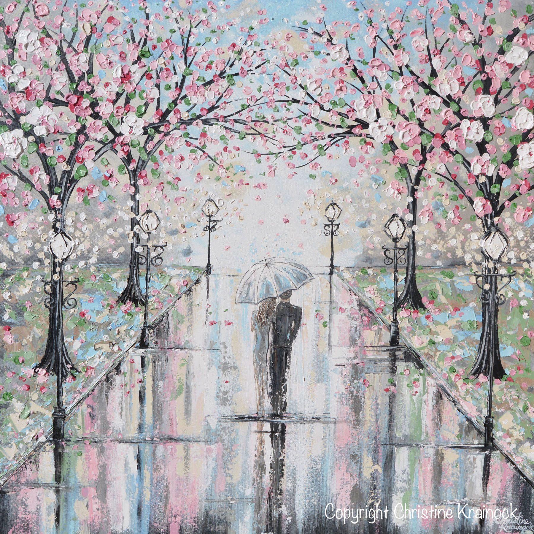 Original Art Abstract Painting Couple With Umbrella Walk Rain Pink Cherry Trees Textured White Grey Wall Art Decor 36x36 Grey Wall Art Original Abstract Art Painting Abstract Painting