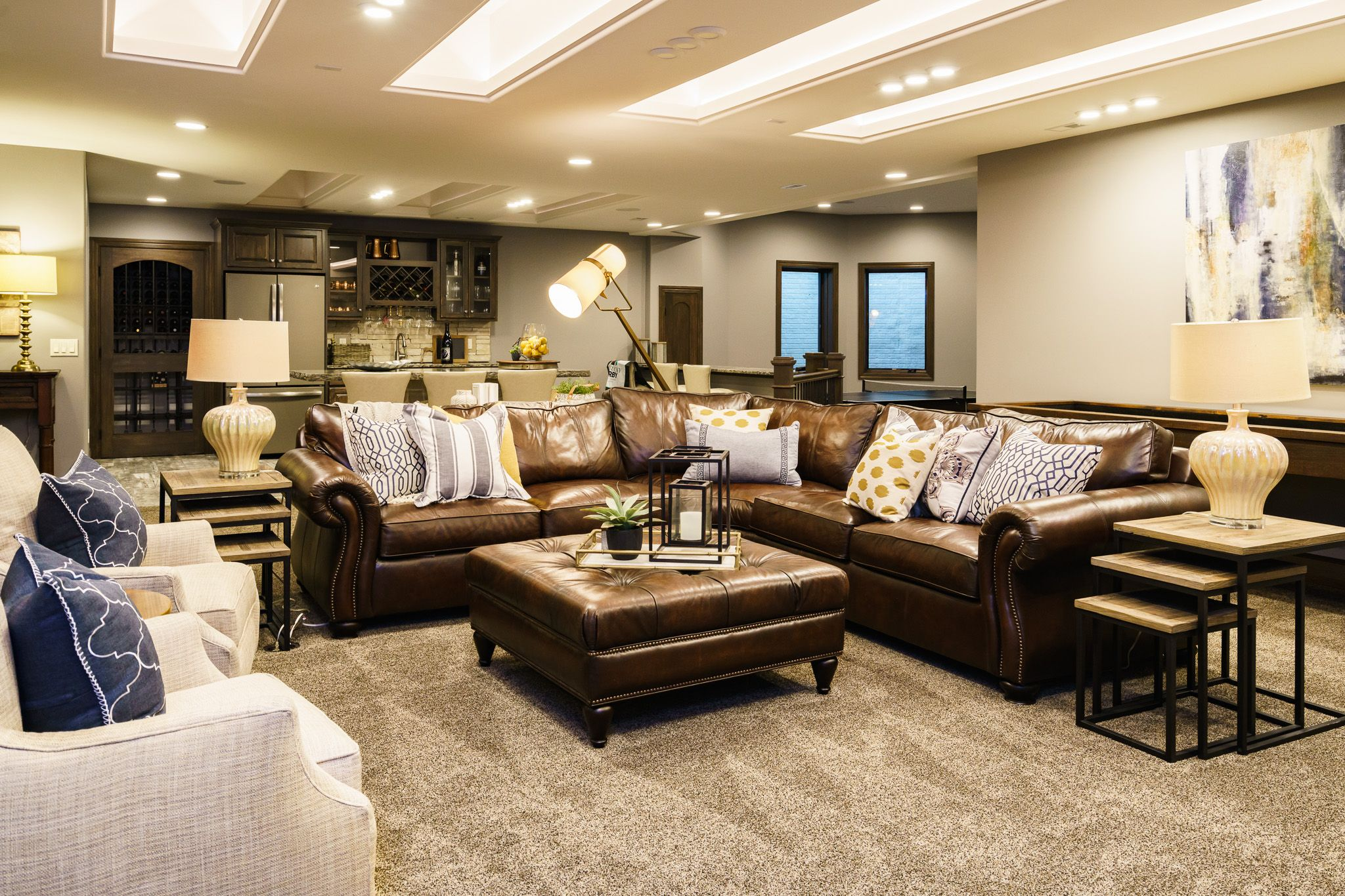 Contemporary modern basement design ideas leather furniture with fun and funky lighting art and decor best of omaha interior design 6x in a row