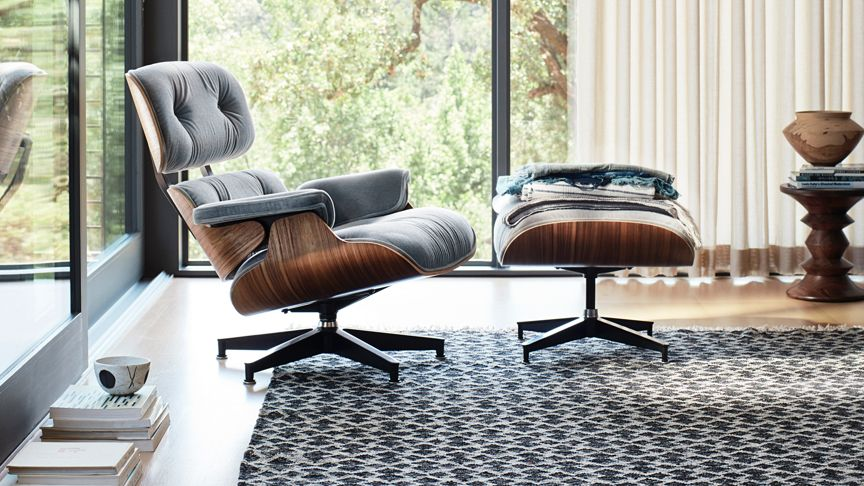 Embrace Comfort Eames Lounge Chair And Ottoman In Mohair And