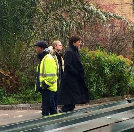 Sherlock BBC #season4 #Setlock - Martin Freeman and Benedict Cumberbatch