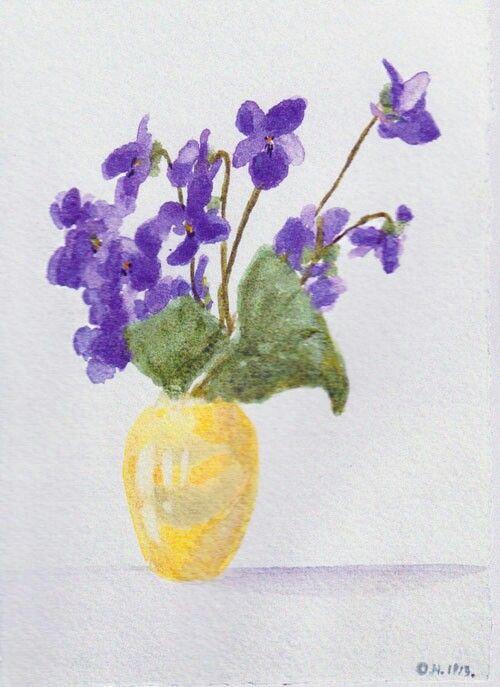 Painting of a vase of flowers by the Grand Duchess Olga Nikolaevna Romanova of…