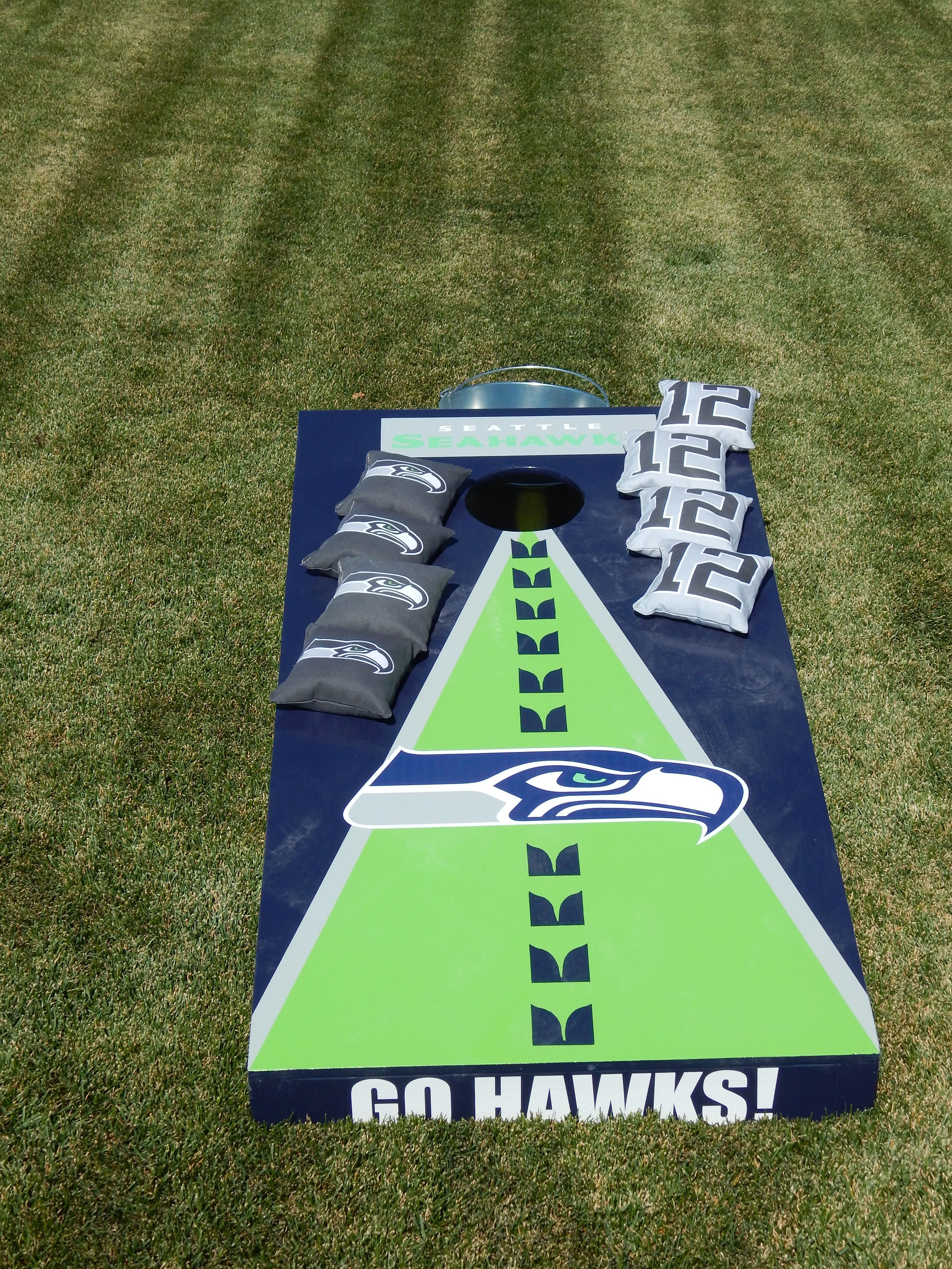 Cornhole Outdoor Games Cornhole Outdoorgames 12thman Seahawks Gohawks With Images Cornhole Designs Seahawks Crafts Cornhole