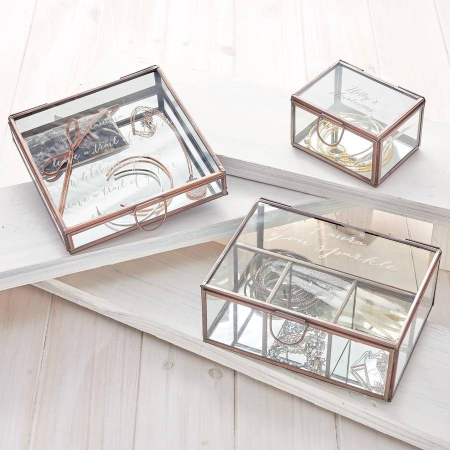 Personalised Compartment Glass Jewellery Box Wishlist Pinterest