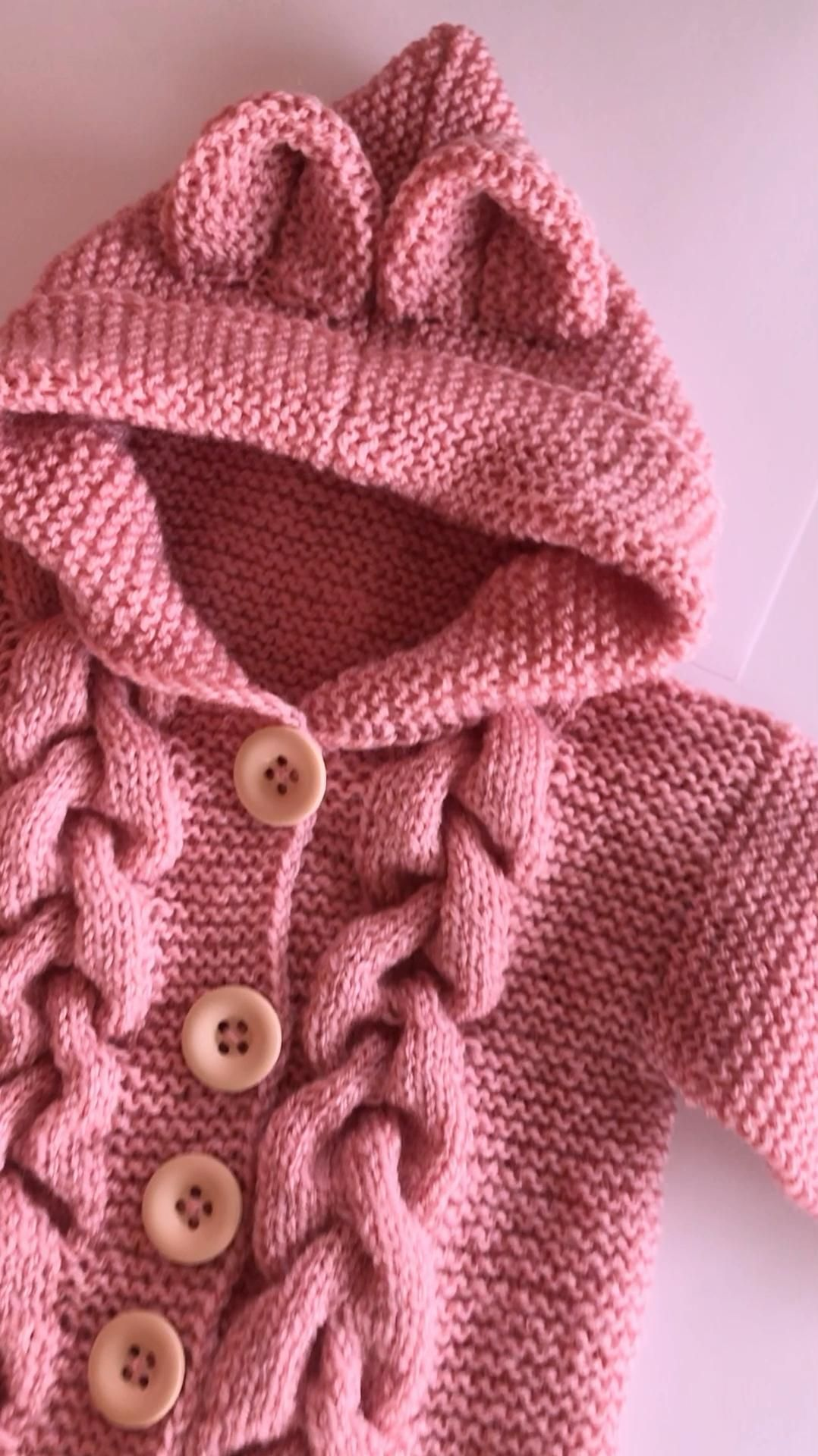 Pink jumpsuit with ears knitting jumpsuit with a h