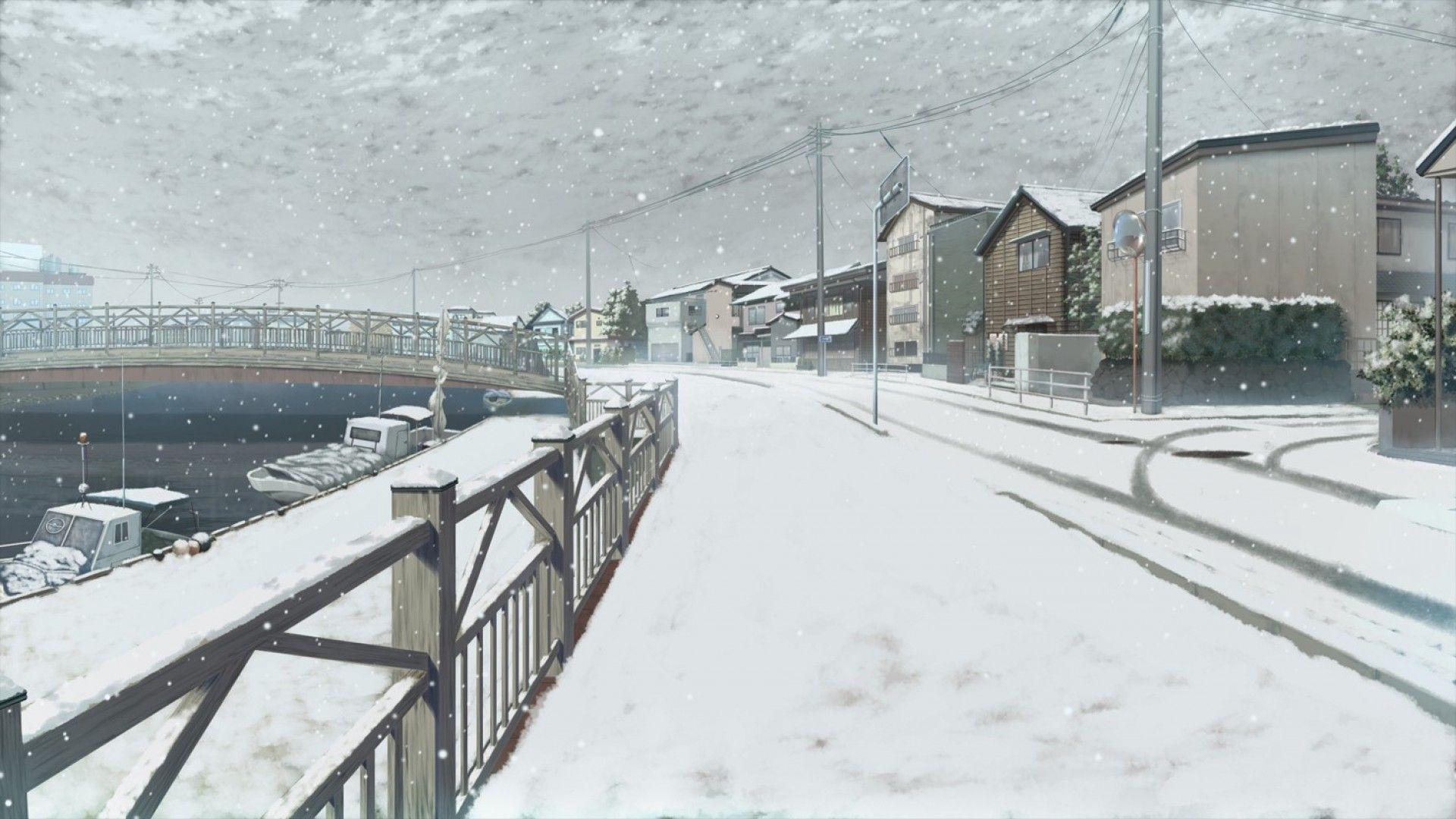 Anime Winter Scenery Hd Wallpaper 1920x1080 Id 58283 Scenery Wallpaper Anime Scenery Winter Scenery