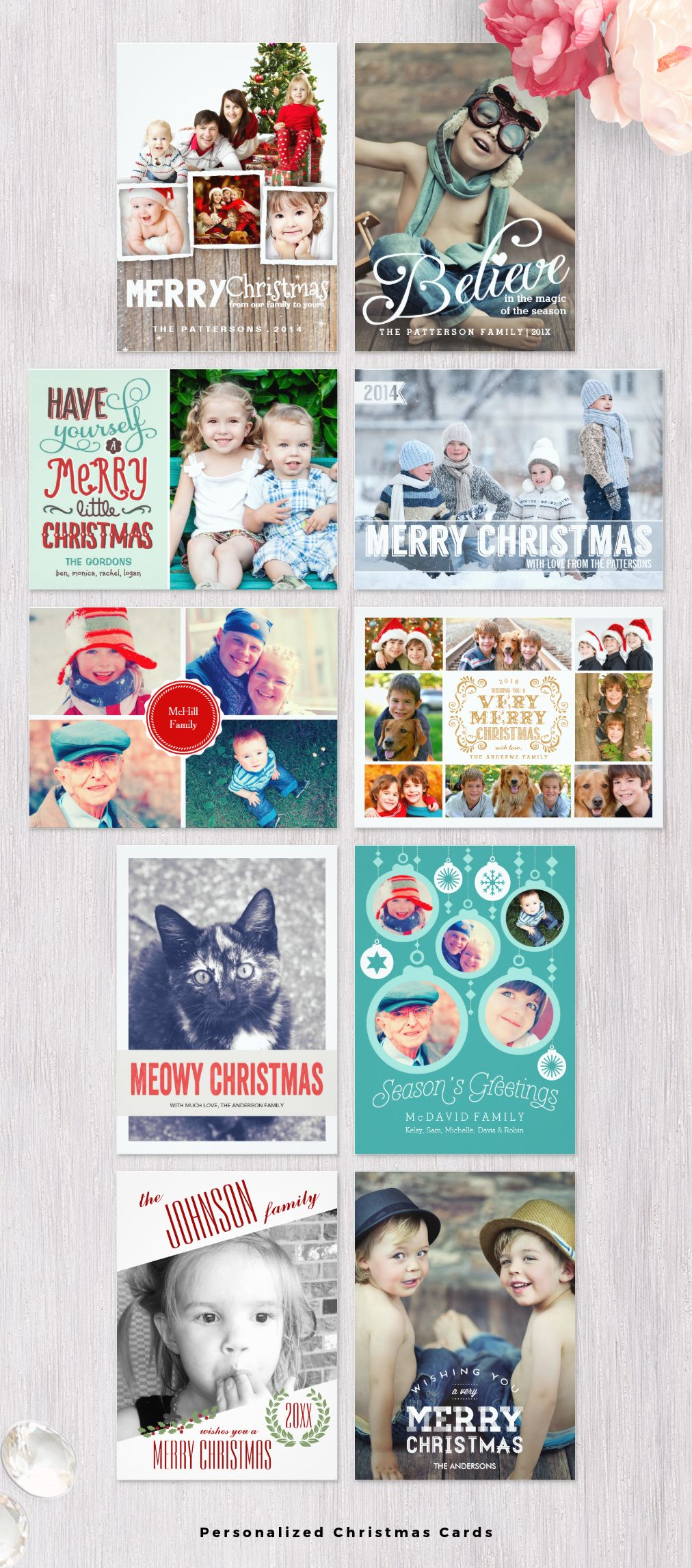 add your own family photos and custom text to these personalized christmas cards printed on - Custom Photo Christmas Cards