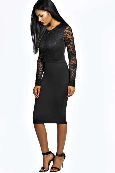 919e48b5f83 Anna Lace Long Sleeve Bodycon Midi Dress at boohoo.com