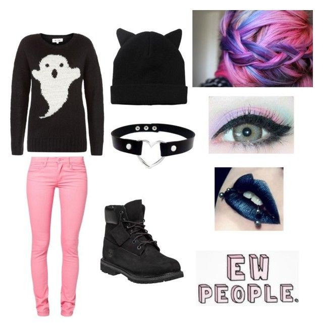 """""""Pastel Goth Outfit #3"""" by madhatter999 ❤ liked on Polyvore featuring Cheap Monday, Monki and Timberland"""