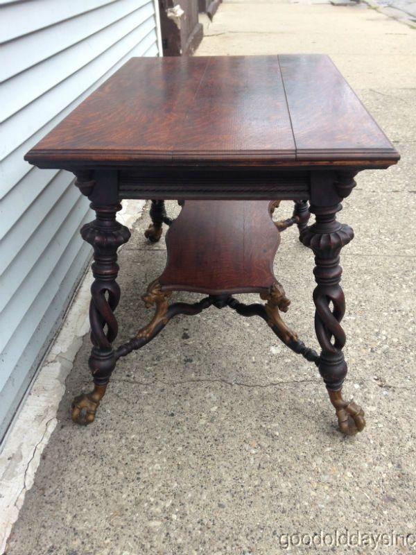 Super Antique Merklen Carved Oak Desk W Griffins Brass Claw Feet Download Free Architecture Designs Oxytwazosbritishbridgeorg