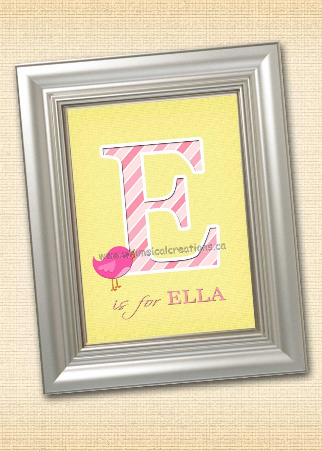 Personalized Monogramed Wall Art for Nursery or Bedroom - 8x10 ...