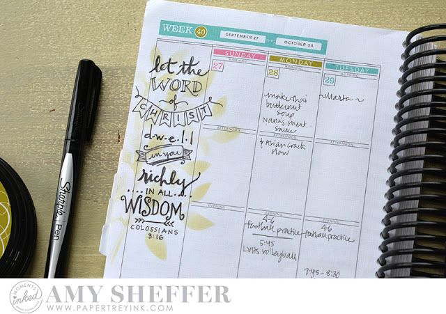 Hand-drawn Bible Verse Planner Page by Amy Sheffer for Papertrey Ink (October 2015)