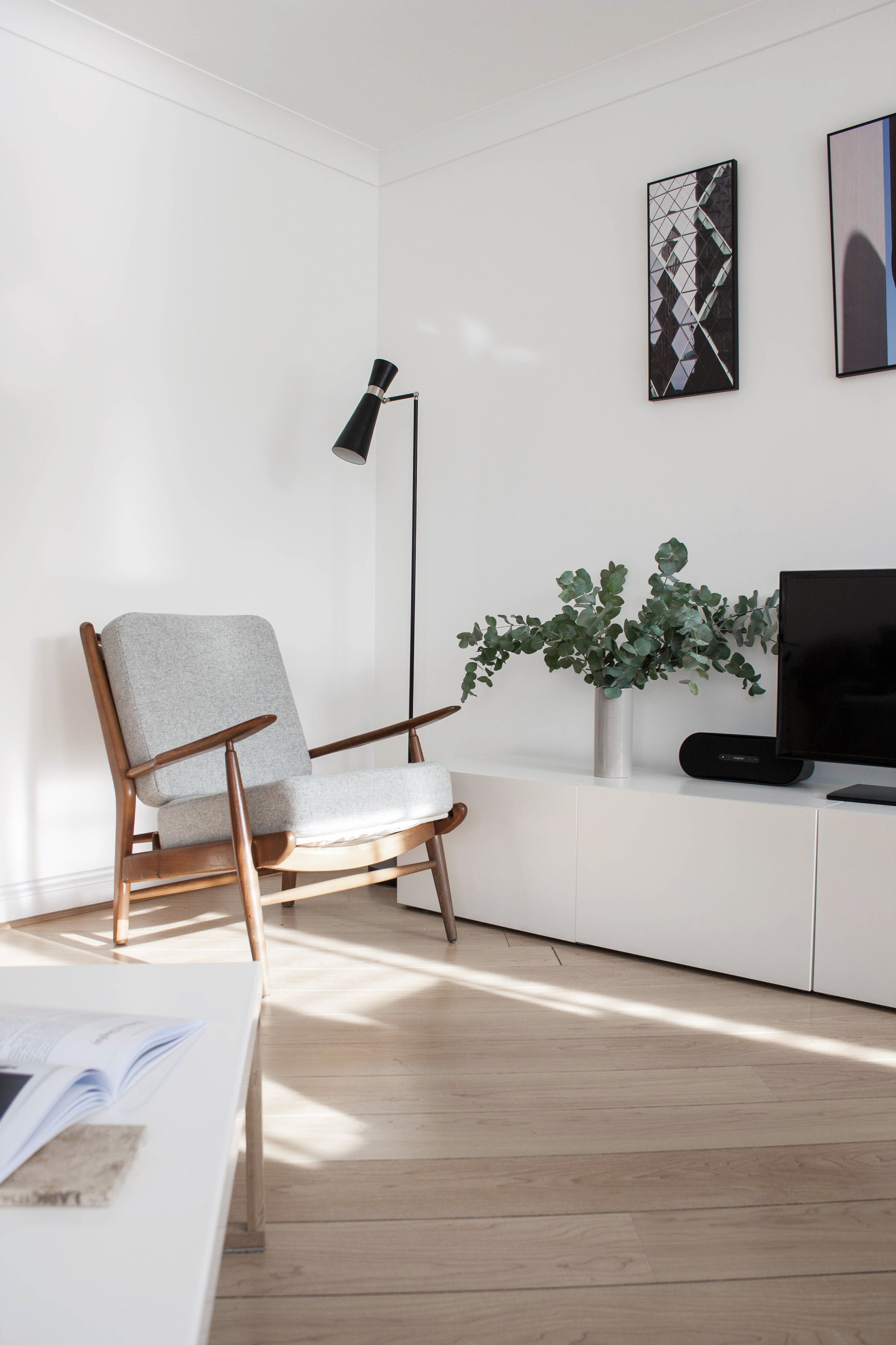 Photo 5 Of 8 In Two Architects Revive Their London Flat With Minimal Living Room Scandinavian Living Room Tv Stand Ikea Tv Stand