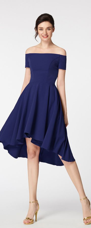 00d0865908ee Bridesmaid dresses navy blue high low bridesmaid dress off the shoulder  bridesmaid dress short sleeves