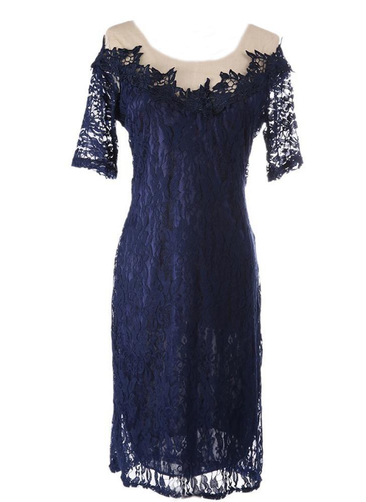 Fashion Floral Lace Patchwork Mesh Deep V Back Short Sleeve Slim Dress