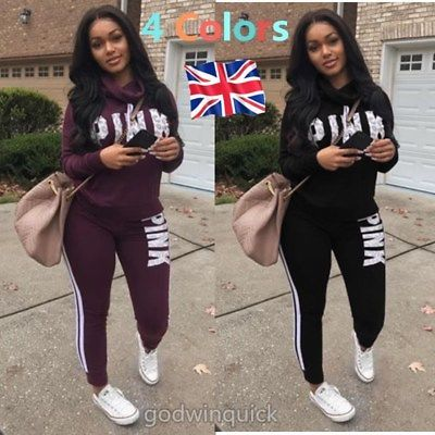 3f57e101bd5ab UK Women s 2PCS Tracksuits Striped Sport Lounge Wear Ladies Tops Suit Plus  Size