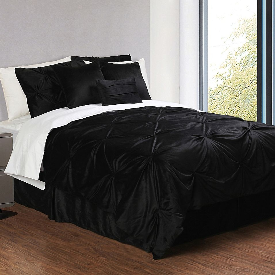 Luxury All Black Solid Pure Color Simply Shabby Chic Damask Full Queen Size Bedding Sets Black Bed Set Black Bedding Shabby Chic Bedrooms