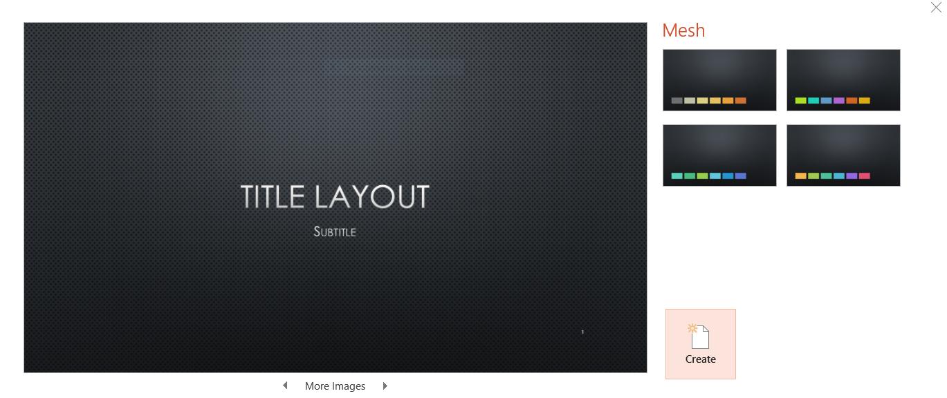Screenshot of Mesh Template in PowerPoint 2016 (Windows 10). Taken ...