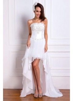 Amazing Sheath Strapless Asymmetrical-LengthTaffeta Beach Wedding Dress