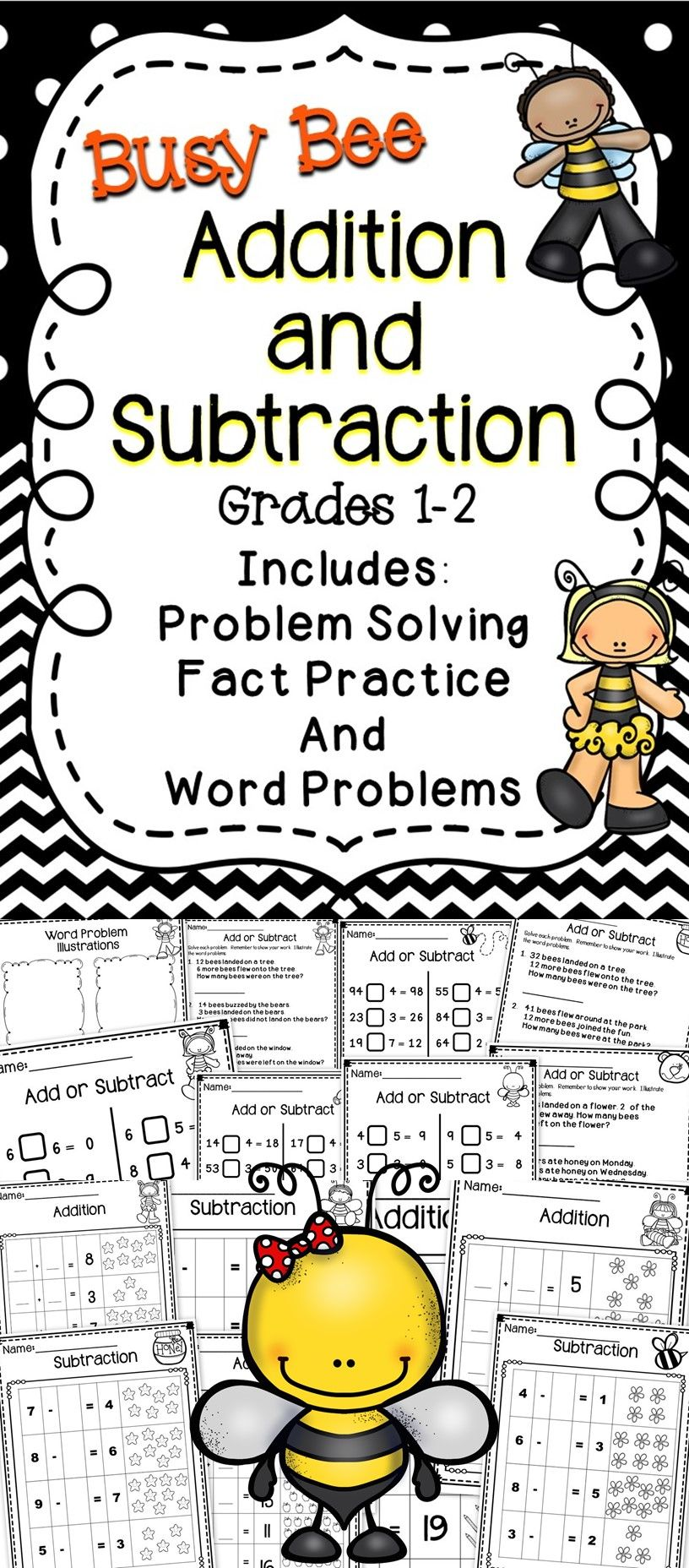 Busy Bee Addition and Subtraction - This Busy Bee math resource includes activities for students to develop their addition and subtraction skills.  This book includes problem solving and more! #math