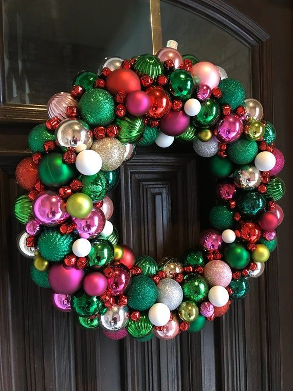 Beautiful Custom Christmas Ornament Wreath! Holiday Wreath! Bauble Wreath! Customizable! Christmas Wreath made with pinks, greens, and white #baublewreath
