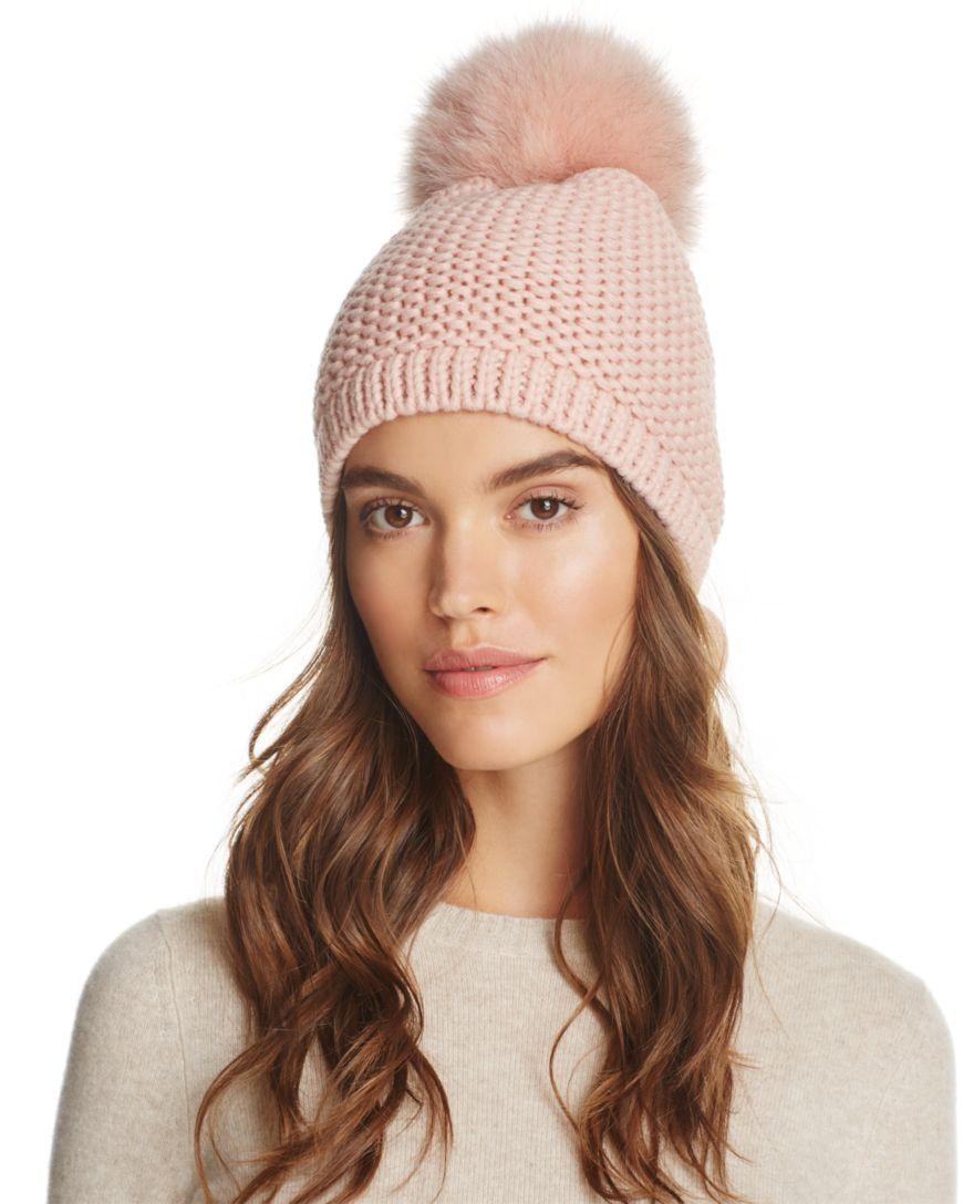 5b159a5f8f24e Kyi Kyi Slouchy Hat with Fox Fur Pom-Pom - 100% Exclusive ...