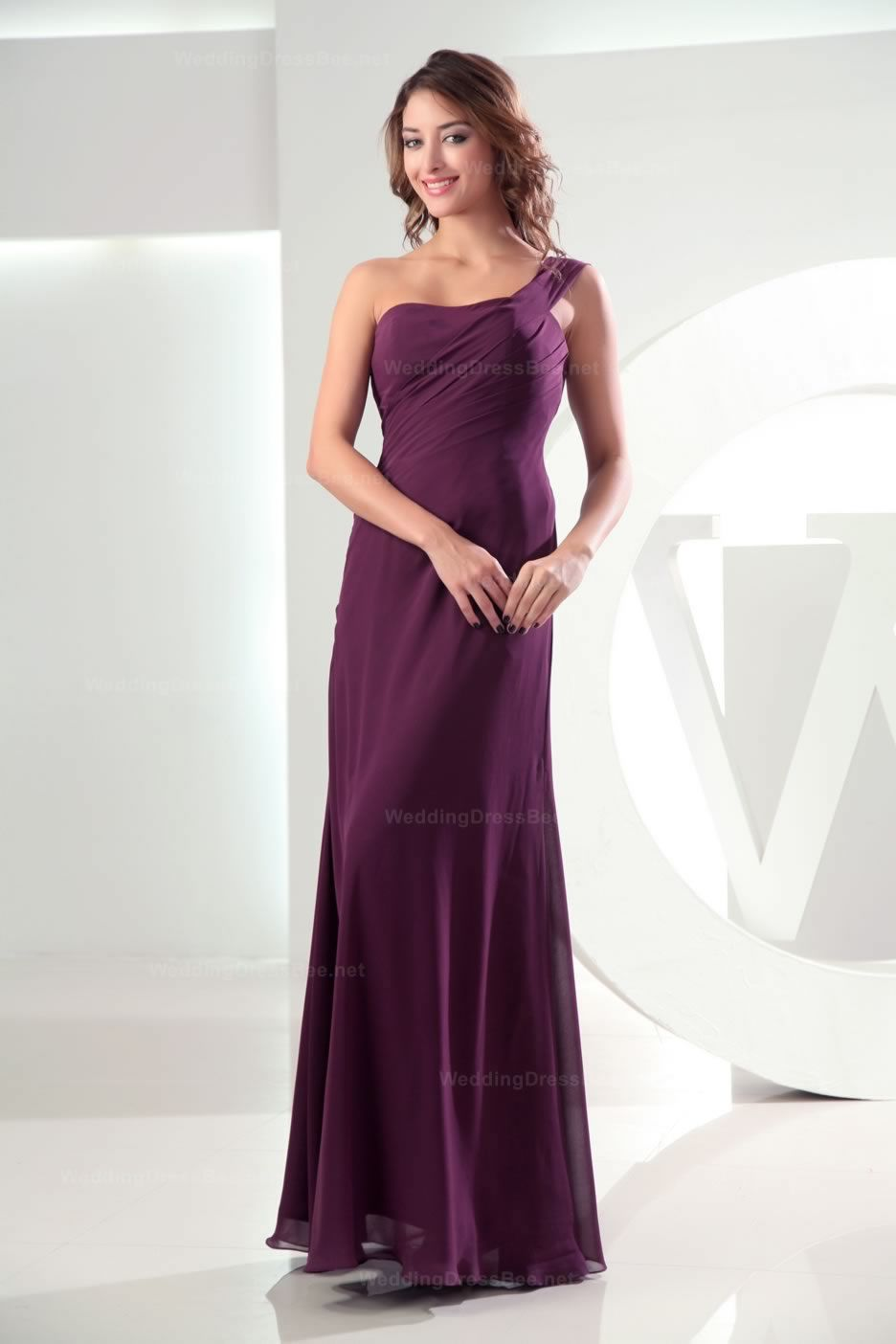 Oneshoulder ruched top floor length chiffon dress party dresses