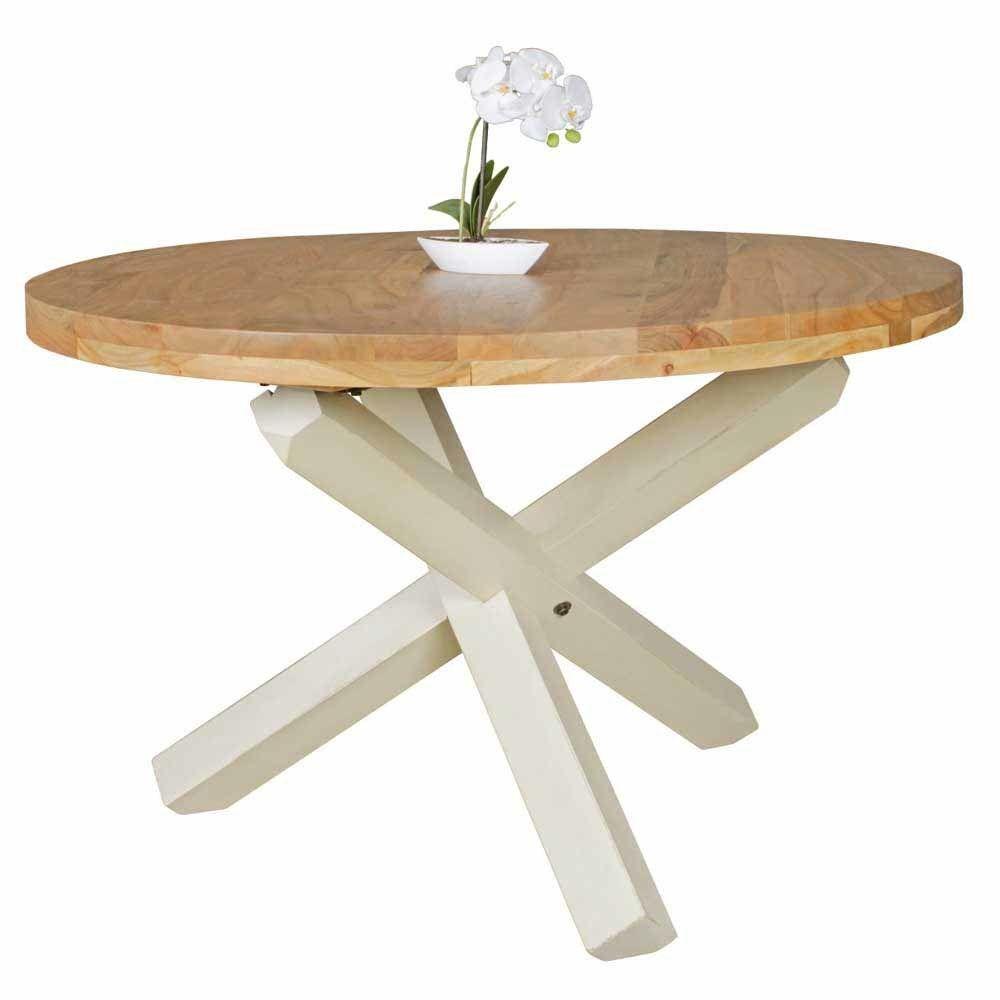 Esszimmertisch in Weiß Akazie massiv Rund Jetzt bestellen