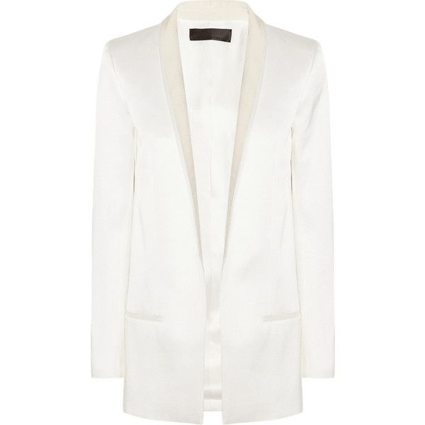 Haider Ackermann Cotton and silk-blend satin tuxedo jacket ($720) ❤ liked on Polyvore featuring outerwear, jackets, blazers, blazer, coats, coats & jackets, white, tuxedo jacket, open front blazer and white tuxedo jacket