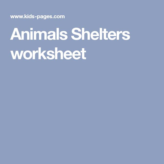 Animals Shelters worksheet | arta | Pinterest | Animal shelter and ...