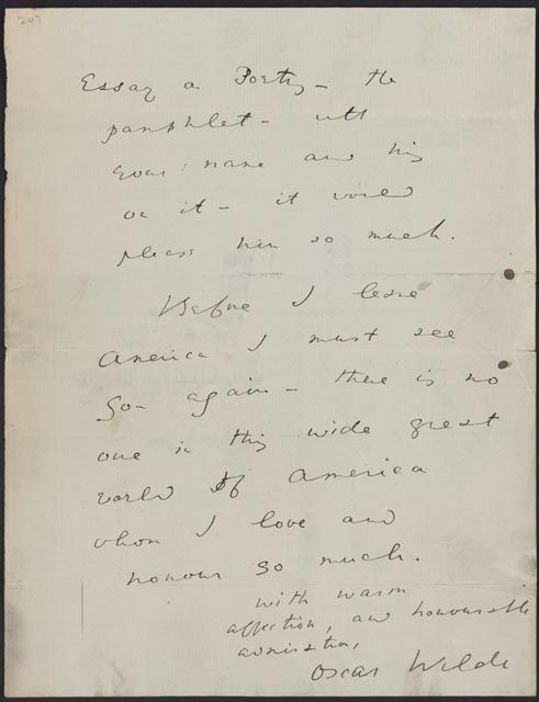 Awritersruminations Oscar WildeS Letter To Walt Whitman Before