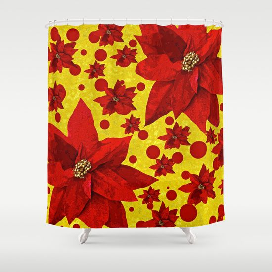 Poinsettia Holiday Pattern Shower Curtain By Saundra Myles