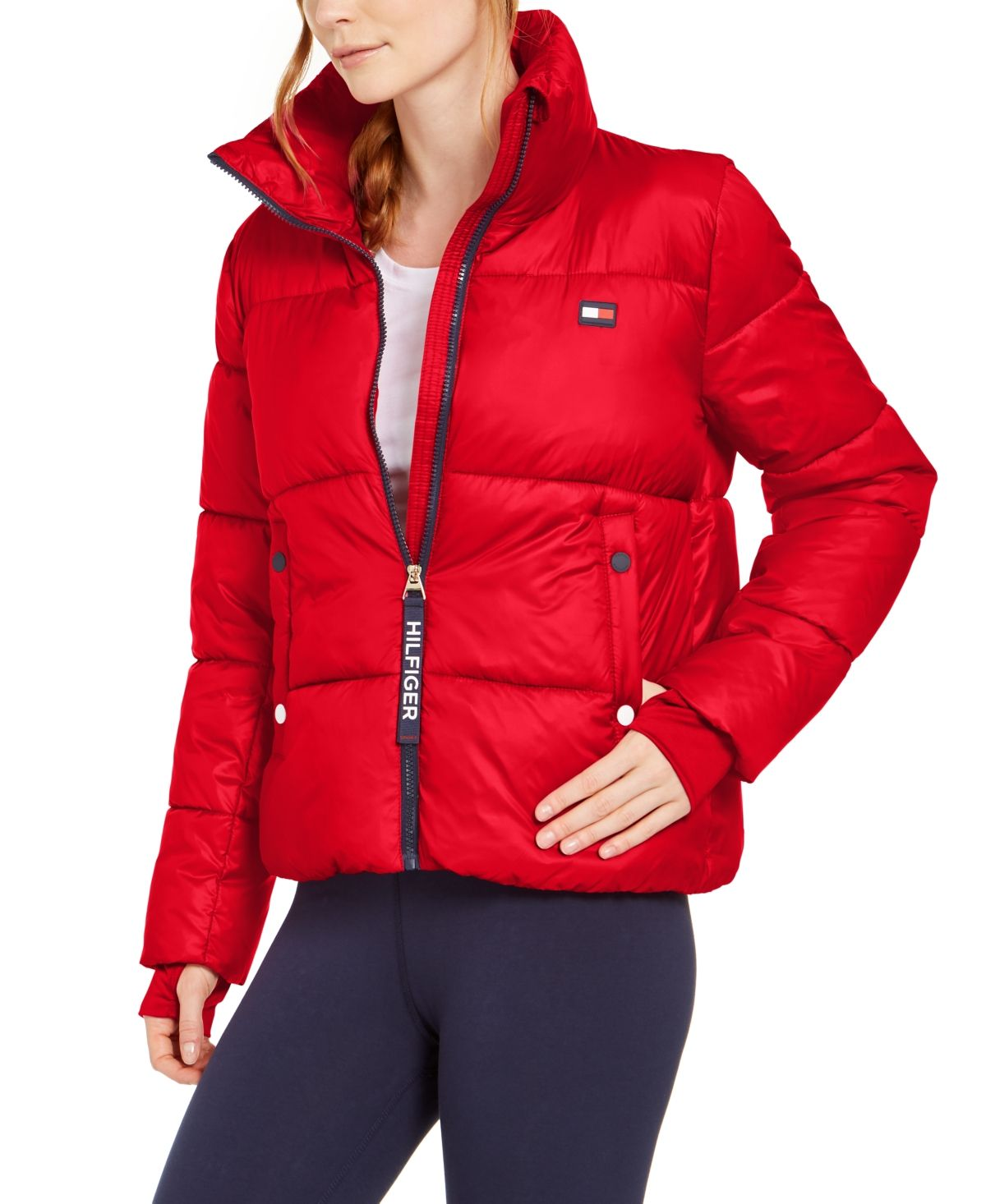 Tommy Hilfiger Sport Cropped Puffer Jacket Pantalones Rojos Ropa Pantalones [ 1466 x 1200 Pixel ]