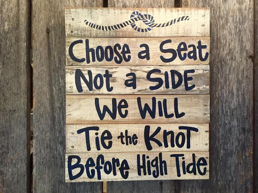 Beach Wedding Sign Personalized Pallet Nautical Choose A Seat Not Side