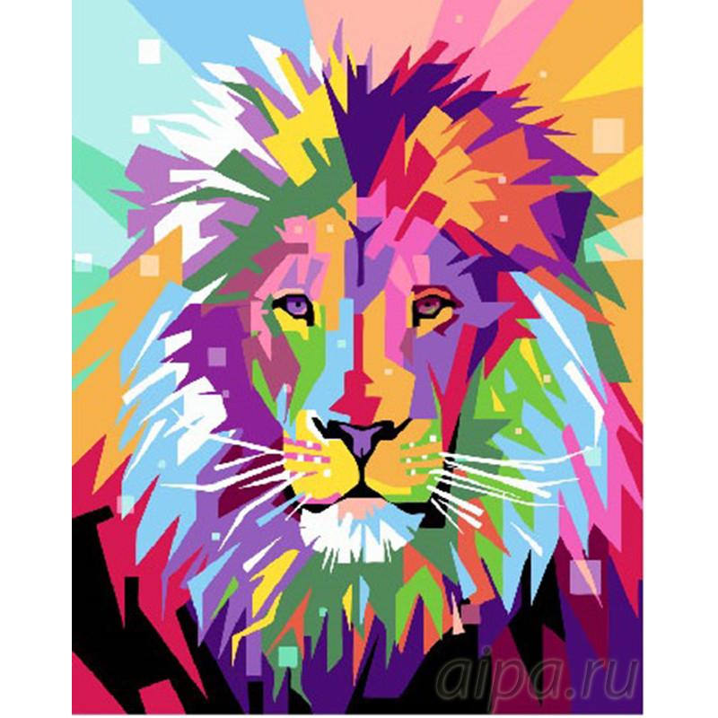 GX26601 Яркий радужный лев Раскраска картина по номерам на ...