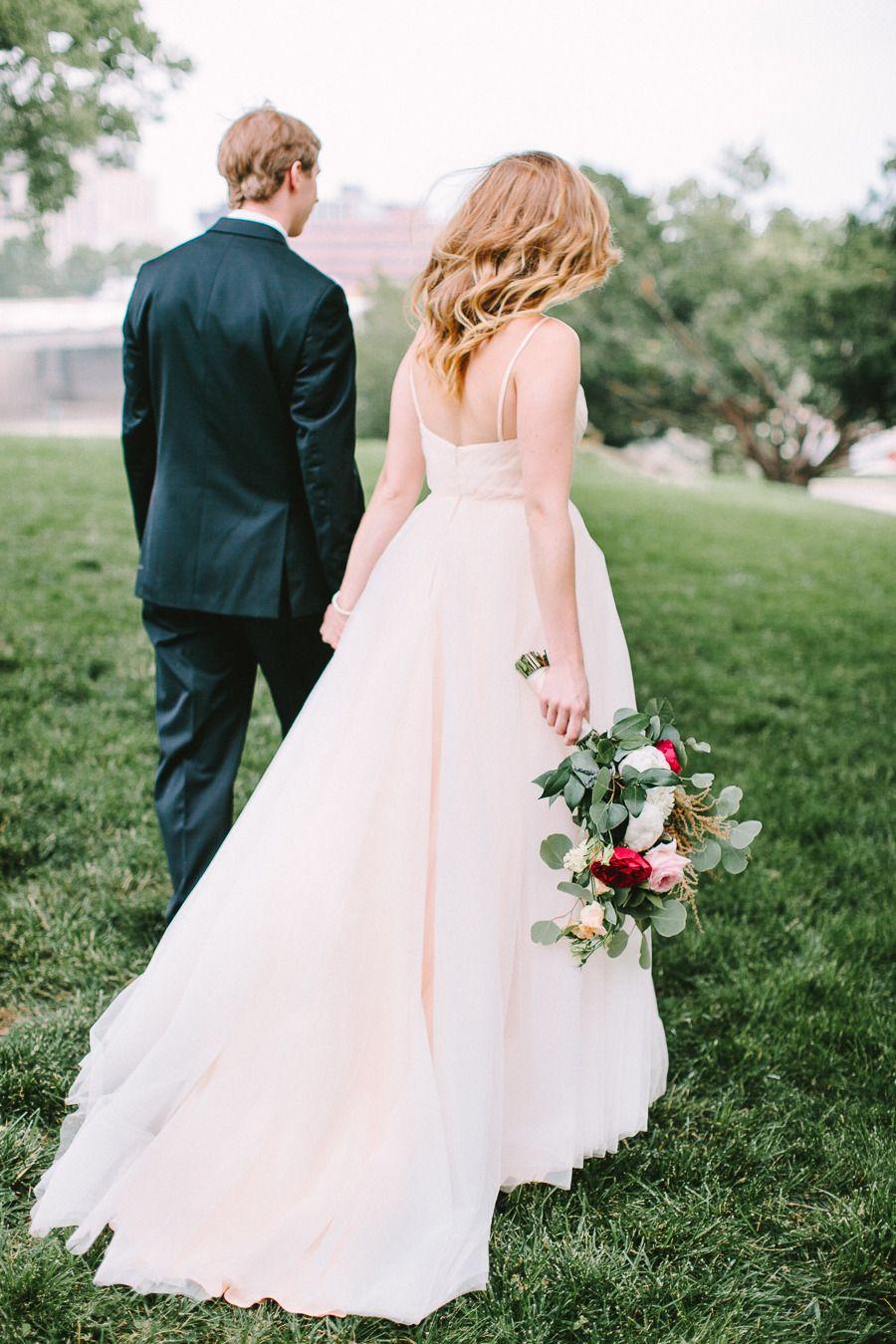 Glamorous Diy Wedding At The Dayton Ohio Art Institute Blush Pink Wedding Dress Pink Wedding Dresses Colored Wedding Dresses