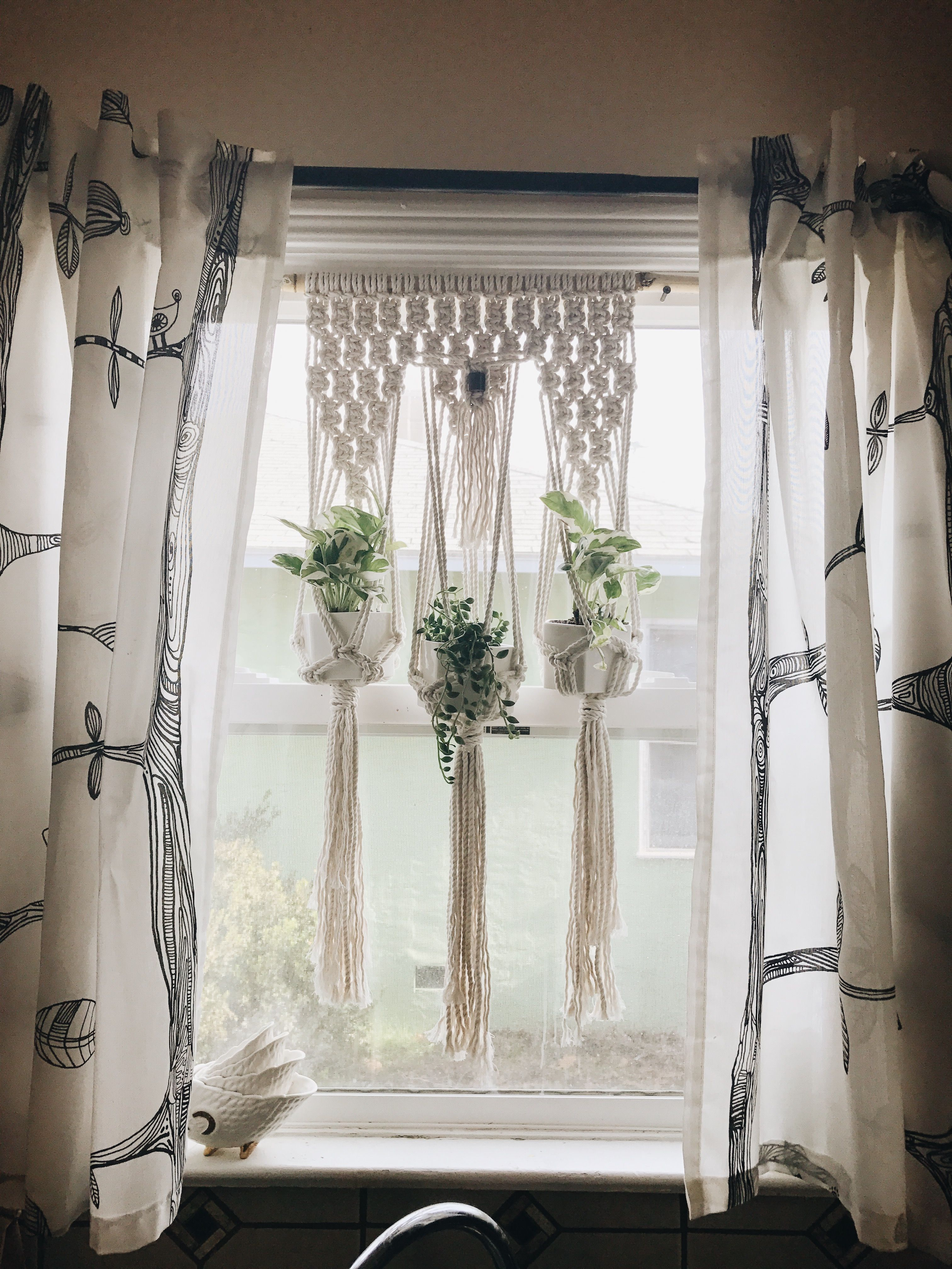 Triple Macrame For Kitchen Window Made With Cotton Rope And
