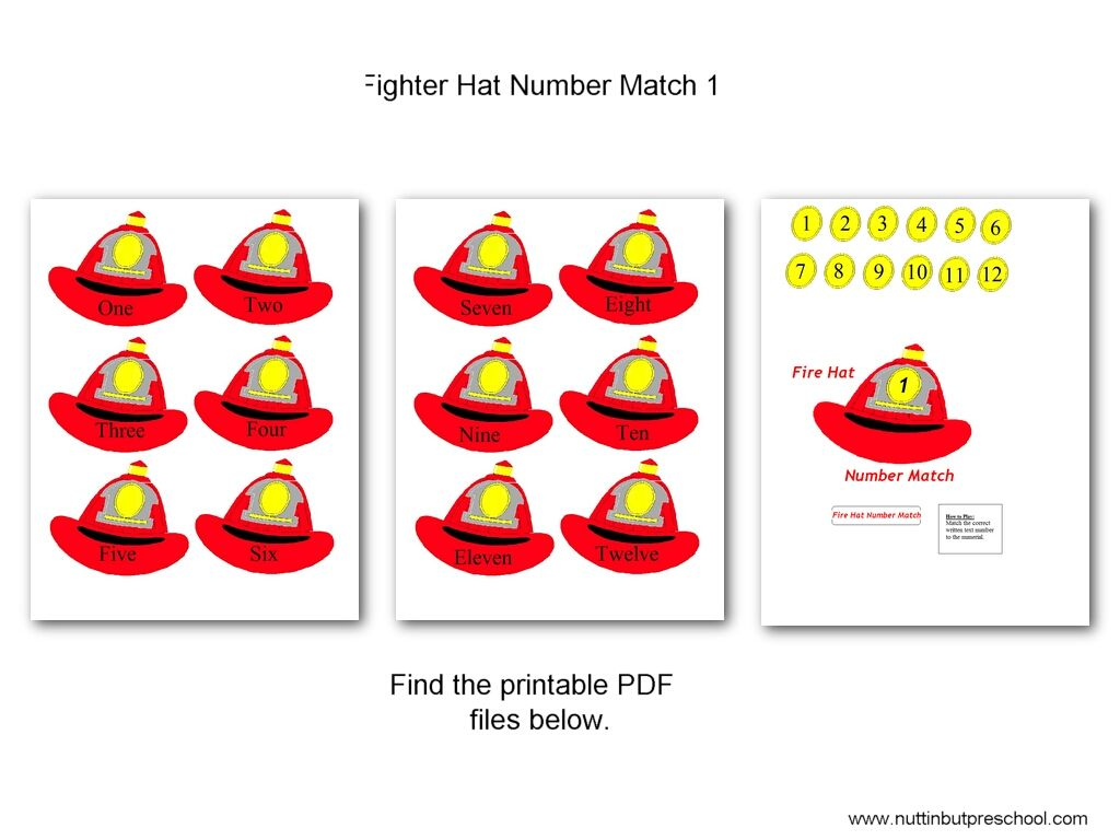 Fire Fighter Hat Number Match