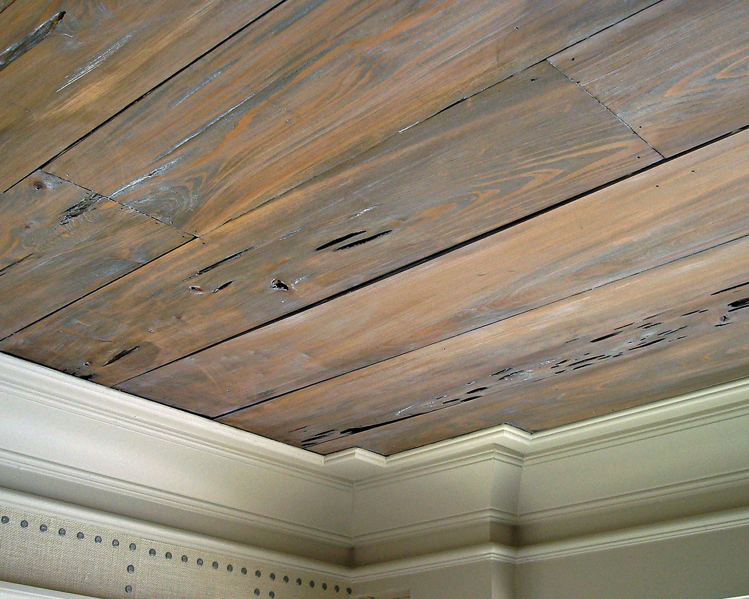 Pecky Cypress Ceiling Paneling Stained Gray Wax Topcoat