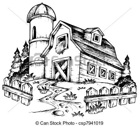 Agriculture Clipart Black And White panoramic farm ...